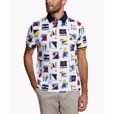 Mens Shirt White Medium Waffle Piqued Flag Printed Polo M