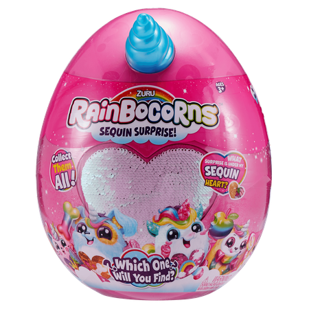 Rainbocorns Sequin Surprise Puppycorn Plush in Giant Mystery Egg by - Large Surprise Eggs