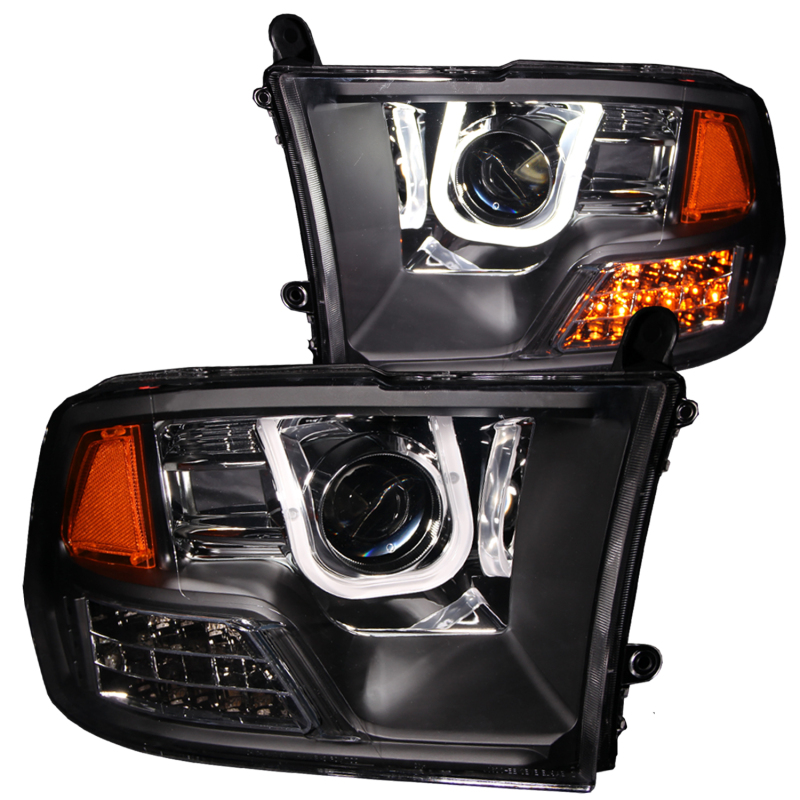 ANZO USA 111270 09-13 RAM PROJECTOR W/U-BAR BLACK CLEAR QUAD BEAM HEADLIGHTS (WILL NOT FIT WITH FACTORY PROJECTOR)