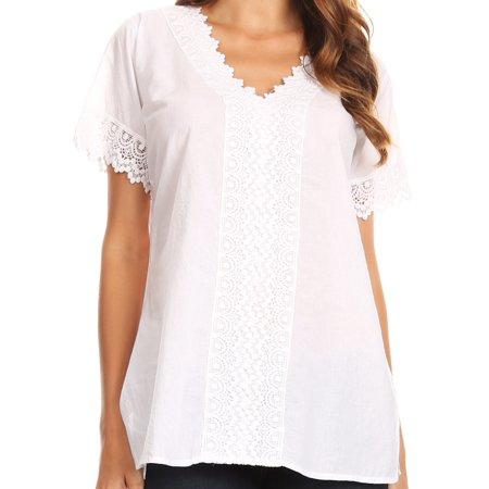 Sakkas Marisa Short Sleeve V-Neck Slim Fit Woven Cotton Blouse with Crochet Trim - White - Large
