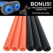 Holloween Deluxe Foam Pool Swim Noodles - 6 PACK 52 Inch  Wholesale Pricing Bulk Pack and Free Connector