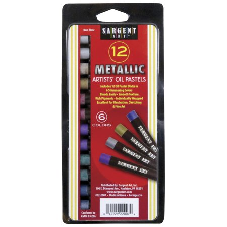 Sargent Art Gallery Non-Toxic Oil Pastel, 7/16 X 3-1/4 in, Assorted Metallic Color, Pack of 12](Owl Colors)
