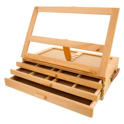 US Art Supply GRAND SOLANA 3 Drawer Adjustable Wood Storage Box Fold Down  Easel