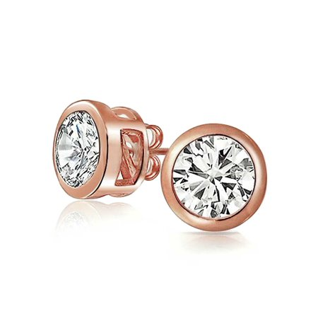 Round Cubic Zirconia Bezel Set Solitaire AAA CZ Stud Earrings For Women Rose Gold Plated 925 Sterling Silver More