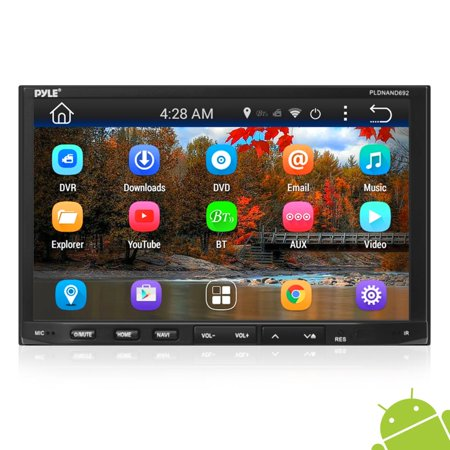 PYLE PLDNAND692 - Double DIN Android Headunit Stereo Receiver, Tablet-Style Functionality, 7'' Touchscreen Display, Wi-Fi Web Browsing & App Download, GPS Navigation, Bluetooth Wireless Streaming