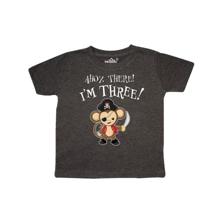 Ahoy, there! I'm Three!- Pirate Monkey 3rd Birthday Toddler T-Shirt