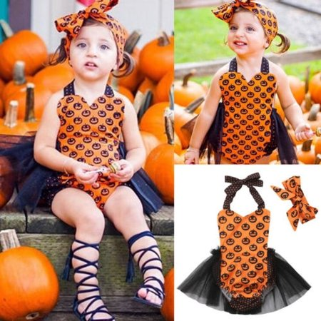 Halloween Newborn Baby Girl Pumpkin Bow Romper Tops Tulle Dress Outfit