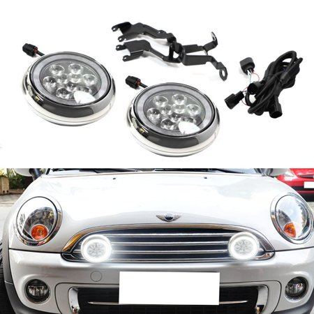 Ijdmtoy Chrome Finish Led Rally Driving Lights With Halo Ring Daytime Running Lamp Embly For Mini Cooper