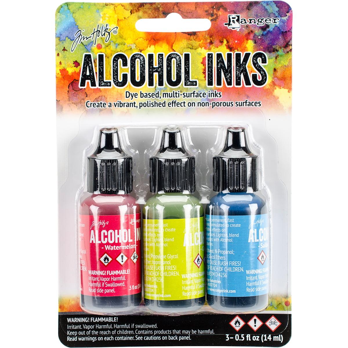 Tim Holtz Alcohol Ink .5oz 3/Pkg-Dockside Picnic-Watermln/Citrus/Sailboat