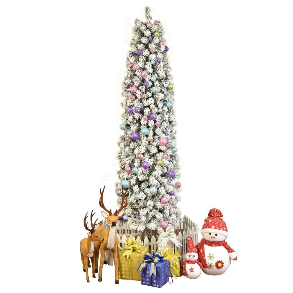 Ktaxon 7.5FT Artificial Slim Pencil Flocked Christmas Tree
