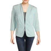 Alex Evenings Womens Plus Knit Glitter Jacket