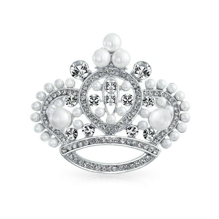 Large Statement Fashion Crystal White Simulated Pearl Queen Princess Crown Brooch Pin For Women Rhodium Plated