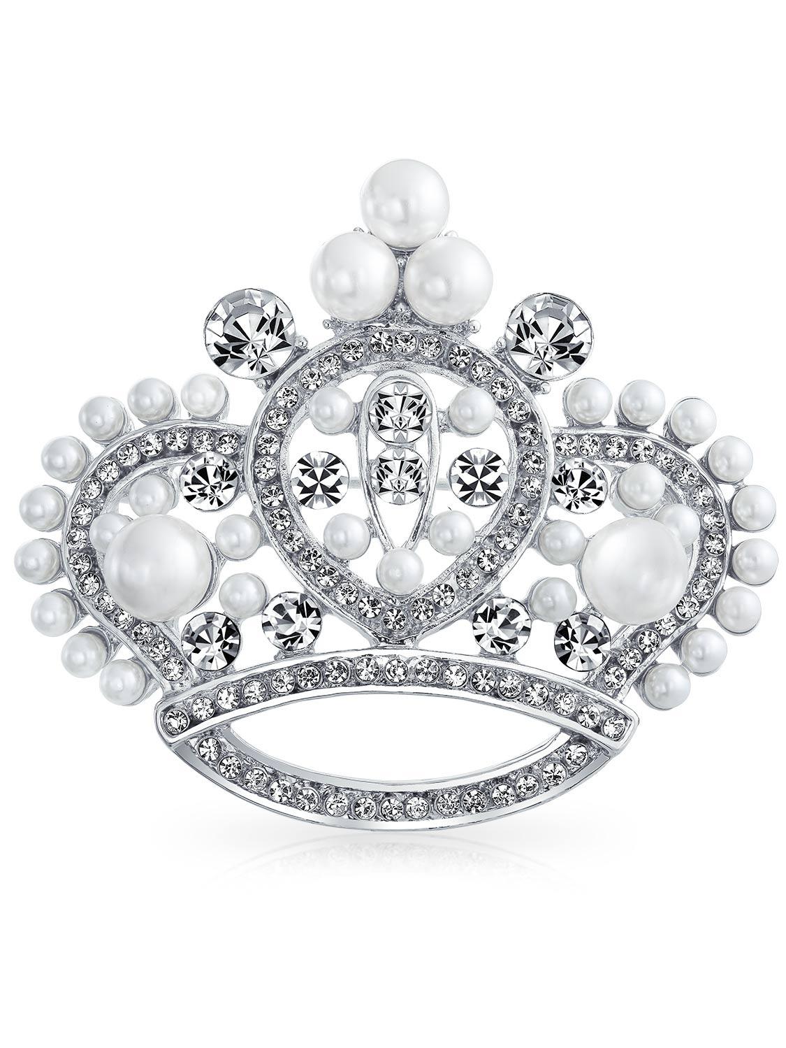 White Simulated Pearl Crystal Princess Crown Pin Brooch Rhodium Plated
