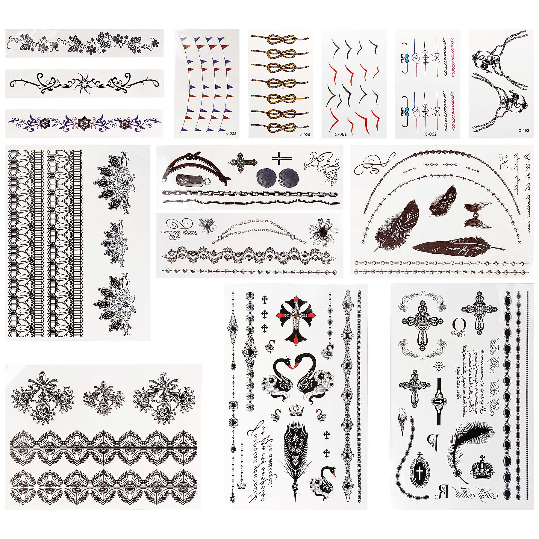 BMC Huge Assortment of Non-Toxic Water Transfer Faux Body Art Temporary Tattoos
