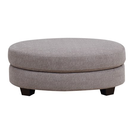 Cushioned Ottoman - Emerald Home Speakeasy Speckled Brown Ottoman with Fixed Cushion, Oval Shape, And Block Feet