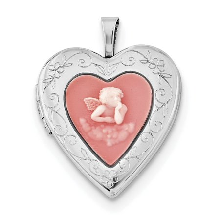 Sterling Silver Rhodium-plated 20mm Pink Agate Angel Cameo -