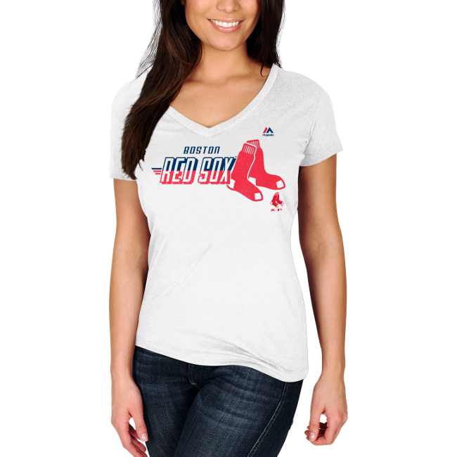 Boston Red Sox Majestic Women's Momentum Builder V-Neck T-Shirt - White