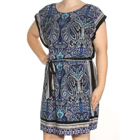INC Womens Blue Belted Printed Short Sleeve Boat Neck Above The Knee Blouson Dress  Size: XL