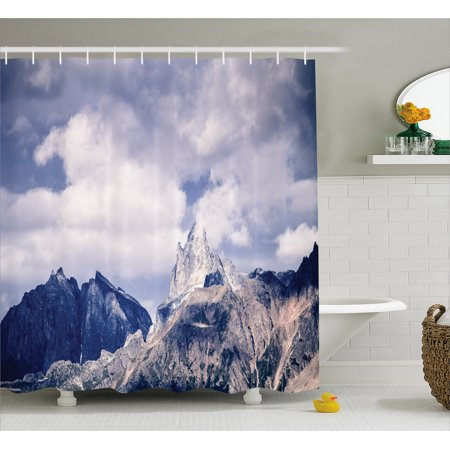 Alaska Shower Curtain, Craggy Peaks in Southeast Alaska Fall Season Mountains Landscape Photo, Fabric Bathroom Set with Hooks, 69W X 84L Inches Extra Long, Grey White Sky Blue, by