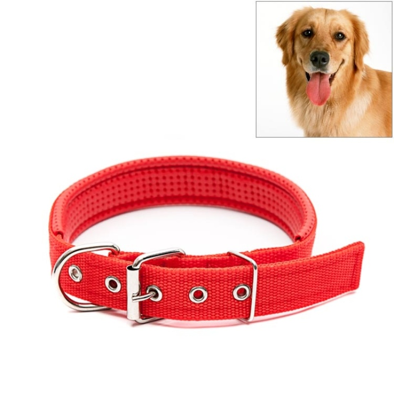 Adjustable Dog Collar with Metal D Ring & Buckle Pet Collars Neck Strap Padded Foam Cotton Polyester Neckband, 3.5cm x 57cm - Red