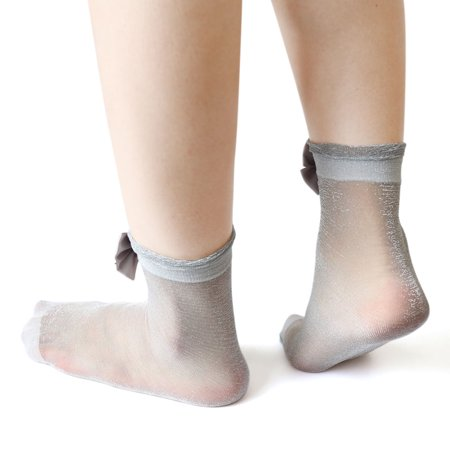 3d52c90a655 2 Pair Women Ankle High Tights Sheer Shinny Hosiery Short Socks s Grey -  image 1 ...