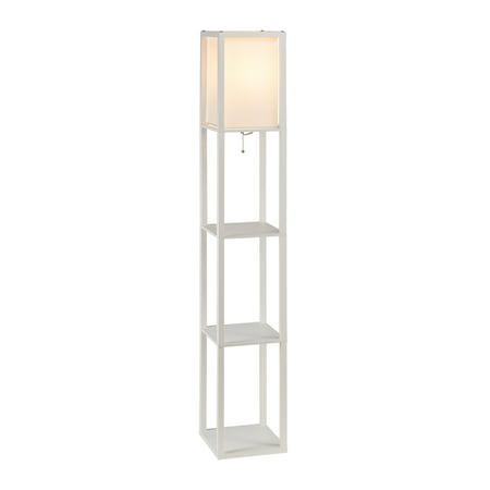 - Stand Floor Lamp w/ Storage Shelf & Fabric Shade, 9.50W LED Bulb