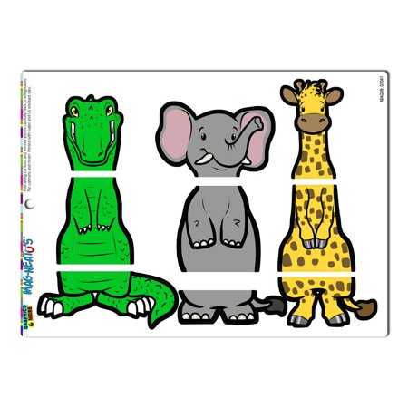 Safari Interchangeable Animals Swap - Giraffe Elephant Alligator Crocodile MAG-NEATO'S(TM) Refrigerator -