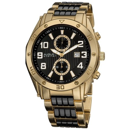 Men's Embossed Dial Day/Month Water Resistant Gold-Tone Bracelet Watch - Embossed Dial Watch