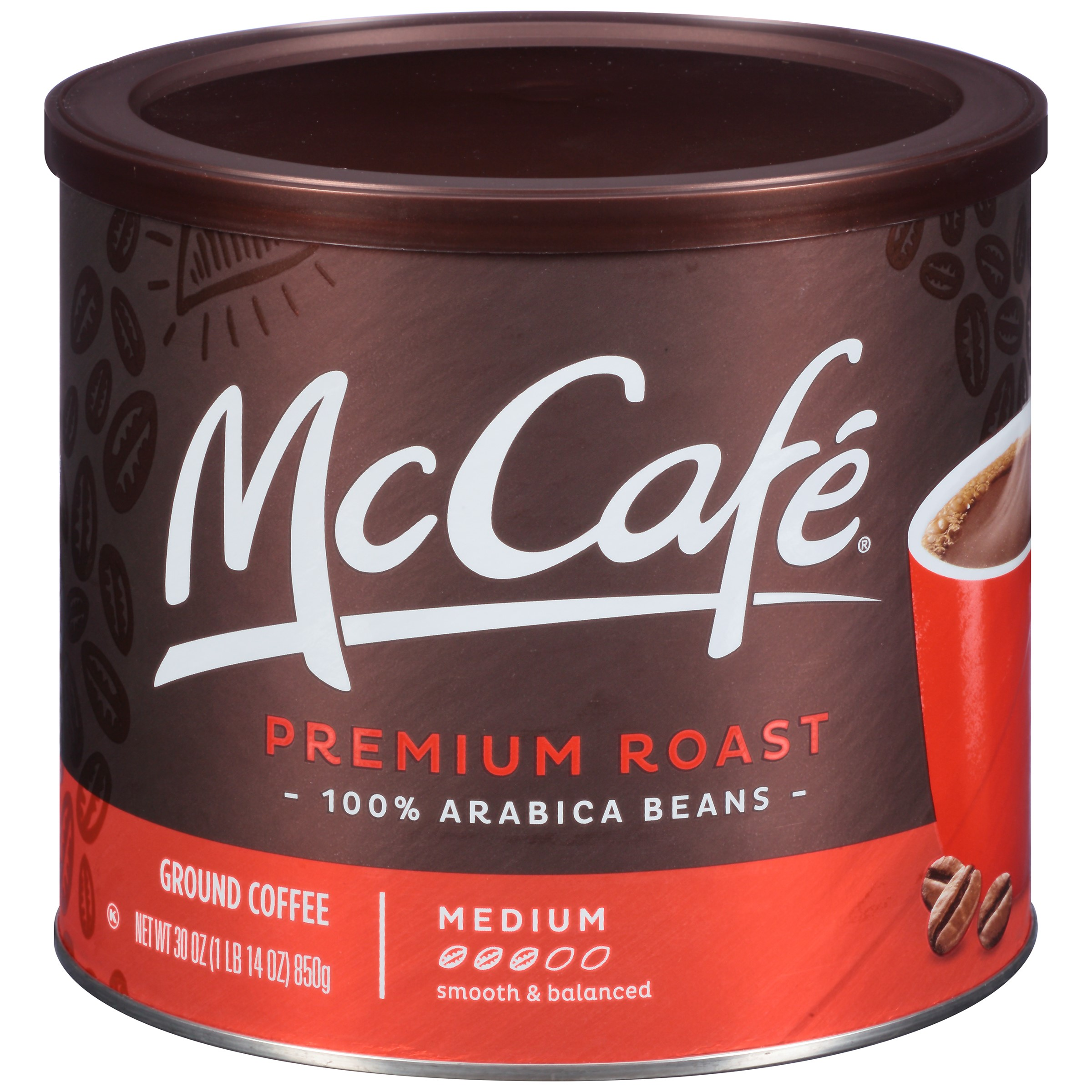 McCafe Premium Medium Roast Ground Coffee, 30 oz (850g) Canister