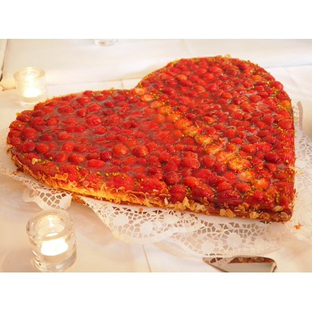 LAMINATED POSTER Love Strawberry Cake Heart Cake Heart Shaped Poster Print 24 x 36
