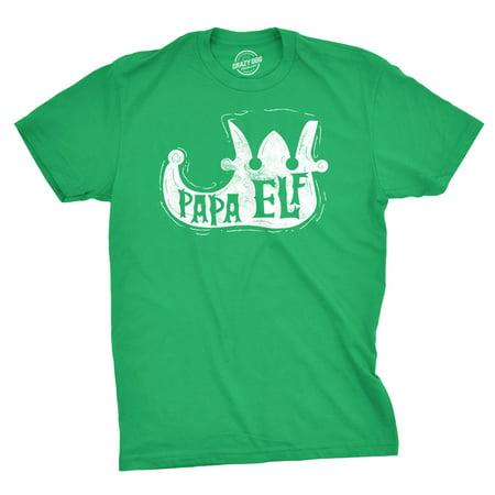 Mens Papa Elf Shoe Tshirt Cute Christmas Santas Helper Tee For Guys (Green)](Did Santa Wear Green)
