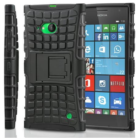 Fosmon [RUGGED] Nokia Lumia 735 Case - HYBO-RAGGED Heavy Duty Hybrid Protective Cover with Kickstand