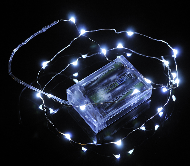 20 White LED Micro Fairy String Lights, Wire (6ft, Battery Operated) by Asian Import Store, Inc.