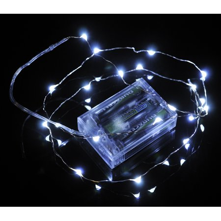 Fantado 20 White LED Micro Fairy String Lights, Wire (6ft, Battery ...