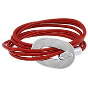 NEXTE Jewelry  Silvertone Three-Row Red Cord Wrap Bracelet
