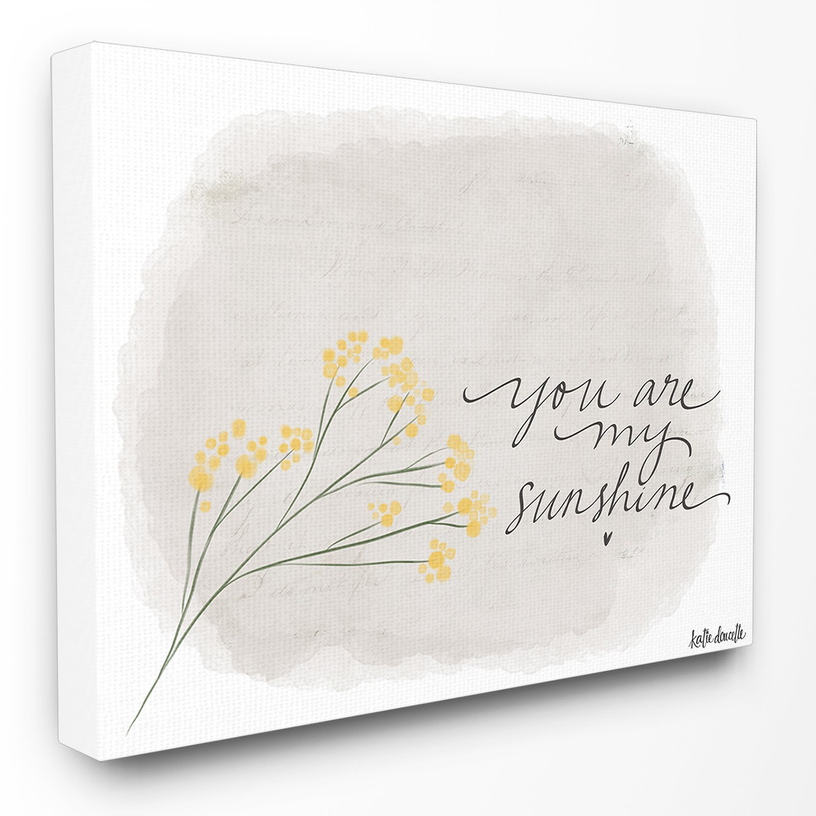 The Stupell Home Decor Collection You Are My Sunshine Flower Illustration Canvas Wall Art