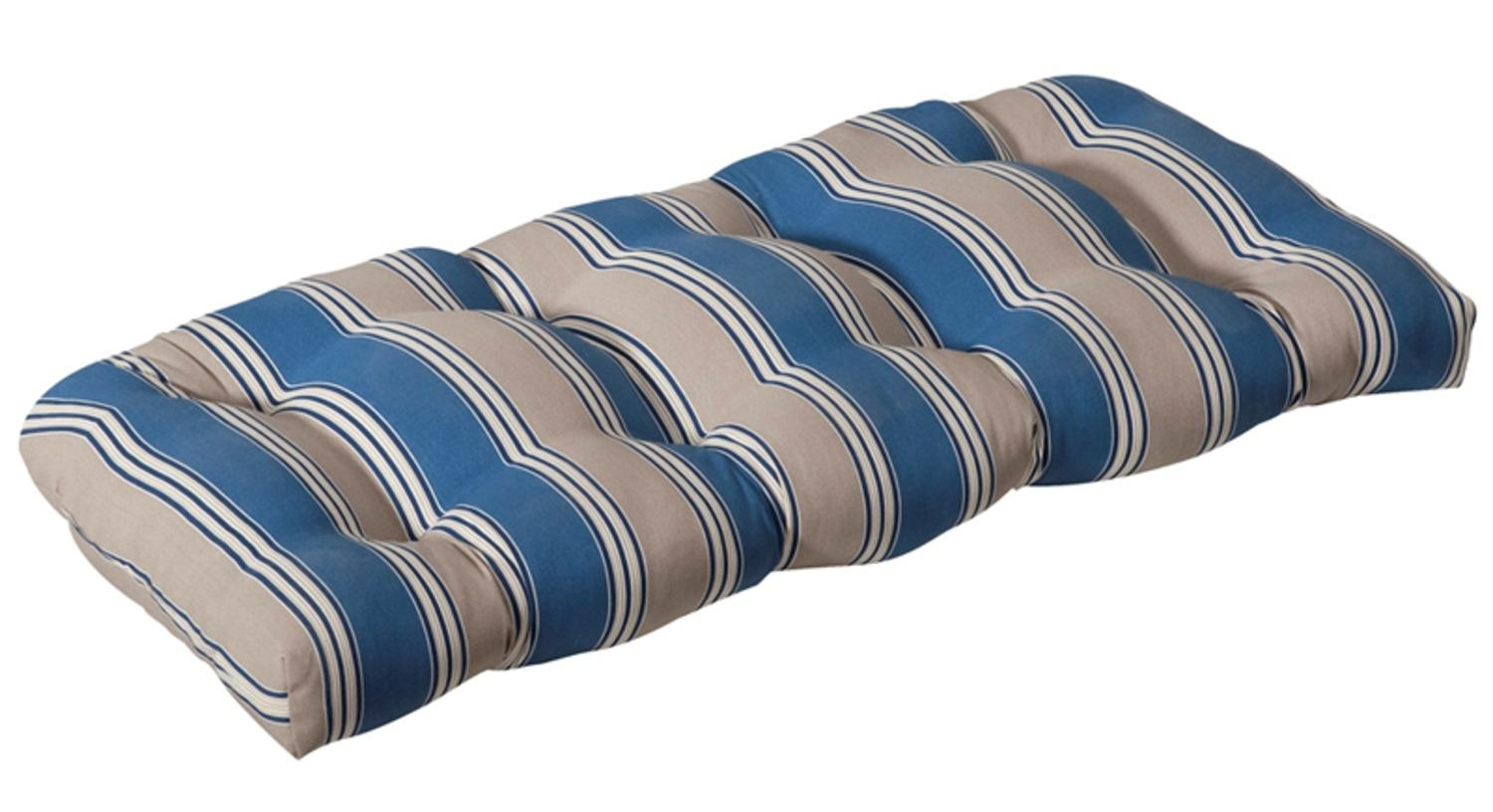 Outdoor Patio Furniture Wicker Loveseat Cushion   Blue U0026 Tan Stripe