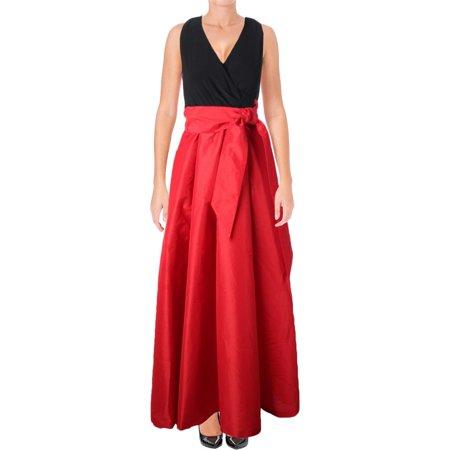Lauren Ralph Womens Mixed Media Sleeveless Formal Dress