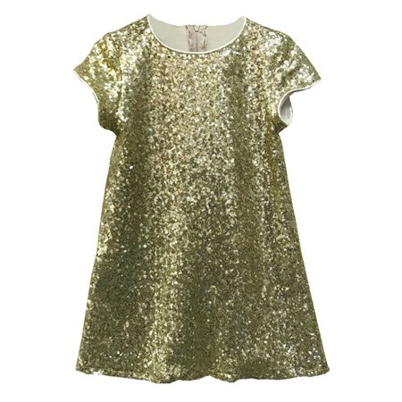 Little Girls Gold Sparkle Sequin Katy Short Sleeve Shift Party Dress - Little Girls Gold Dress