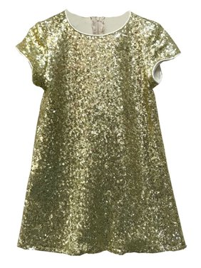 e2ad97666 Product Image Little Girls Gold Sparkle Sequin Katy Short Sleeve Shift  Party Dress 2-6