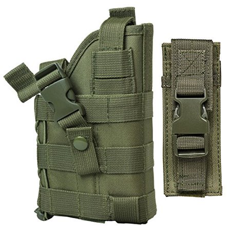 Tactical MOLLE Compatible Green Holster with FREE Tactical Pistol Magazine Carrier Pouch / This Item Fits Smith & Wesson M&P M2.0 CZ-P10 FN FNS FNP FNX.., By m1surplus from