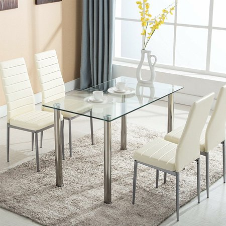 Ktaxon 5 Piece Dining Table Set Dining Table & 4 Leather Chairs,Glass Top Kitchen Dining Room Furniture,White ()