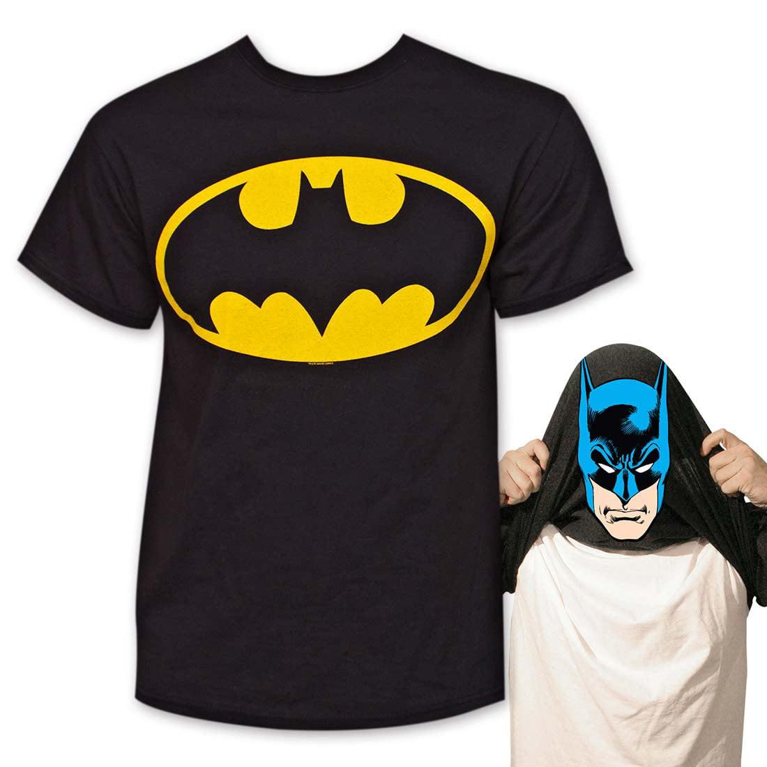 Batman Face Flip-Up Reversible Tee Shirt Black by