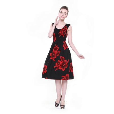 76c0c263e599 Hawaii Hangover - Hawaiian Dress Luau Dress Tank Elastic Dress in Black  with Red Hibiscus - Walmart.com
