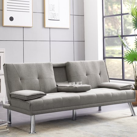 Recliner Couch Sofa Bed for Living Room, Modern Fabric Futon Sofa Bed with Armrest, Metal Legs, 2 Cup Holders, Sleeper Sofa with Adjustable Backrest, Sofa Beds for Small Spaces, Light Gray, W13656