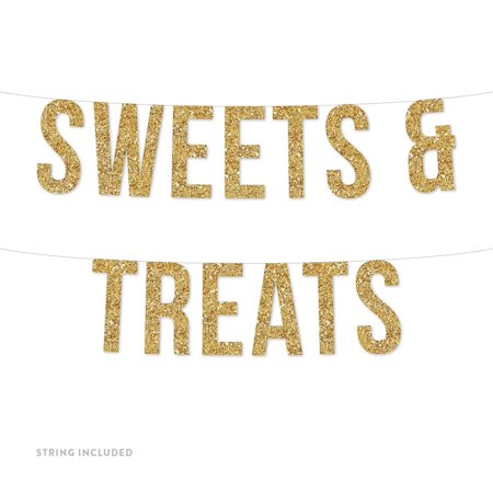 Gold Sweets & Treats Real Glitter Paper Pennant Hanging Banner Includes String No Assembly Required - Halloween Pennant Banner Printable