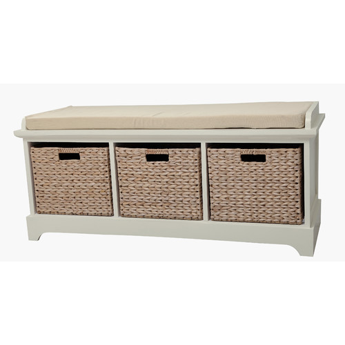 Gallerie Decor Newport Wooden Bedroom Storage Bench with 3 Baskets