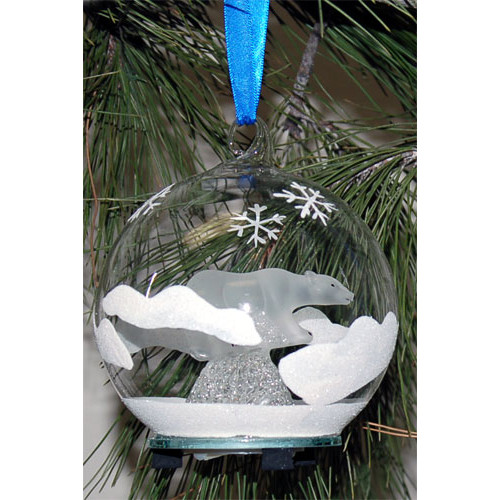 Unison Gifts Light Up Frosted Glass Polar Bear Ornament