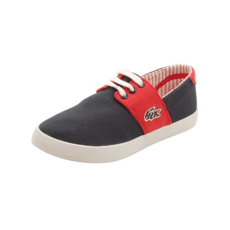 (Lacoste Toddler Fairchampe Lace Up 117 Sneakers in Navy/Red)