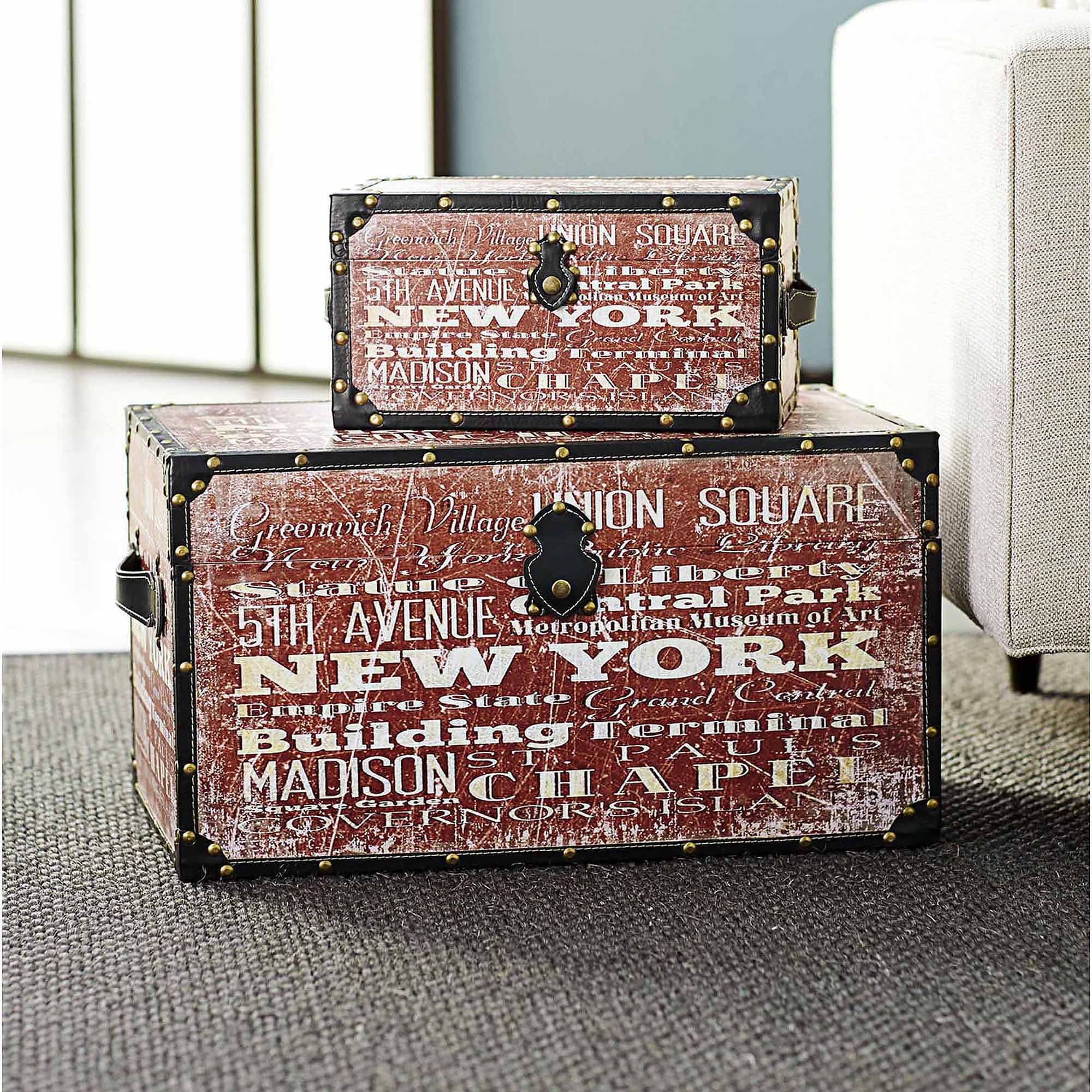 Household Essentials New York Design Trunk, Large and Small Set